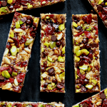 vegan no-bake trail mix bars on a piece of slate