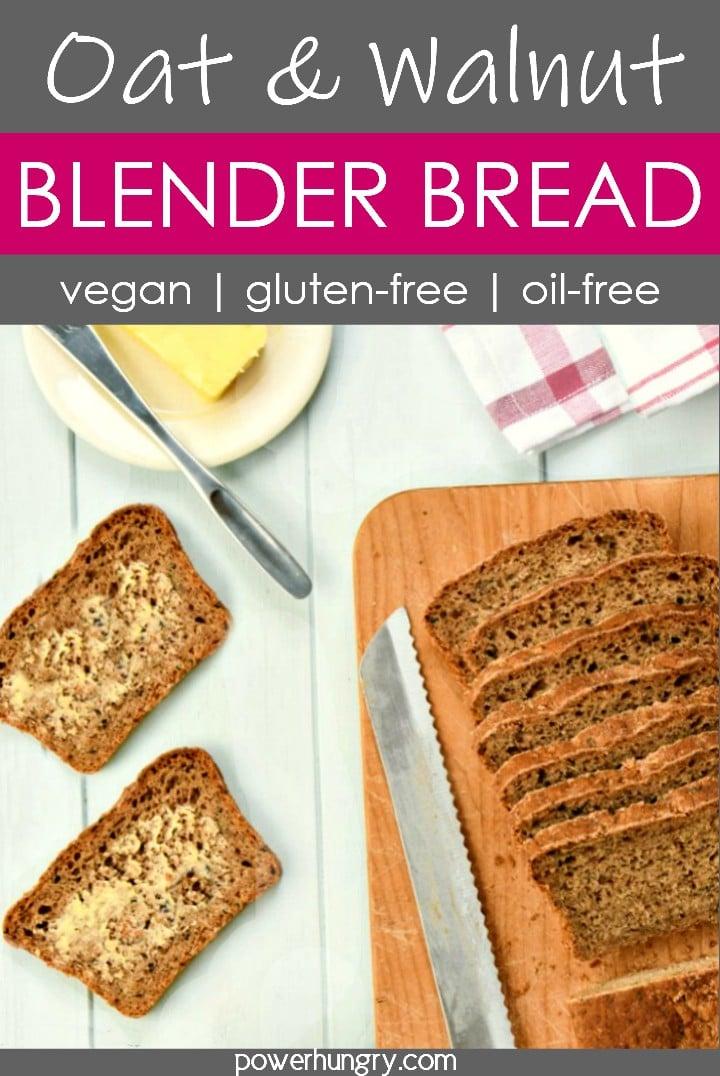 walnut oat blender bread, sliced