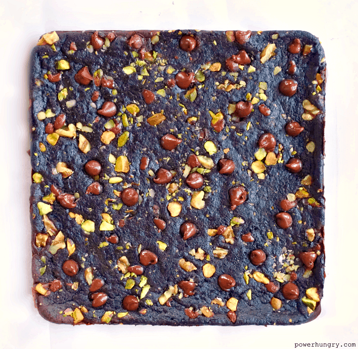 overhead shot of uncut baked tigernut flour brownies