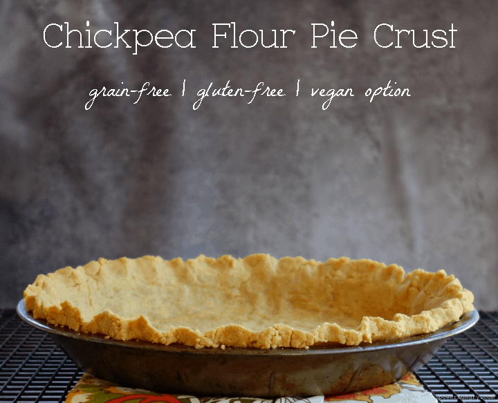 Baked chickpe flour pie crust on a black cooling rack