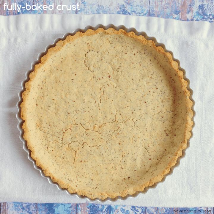 coconut flour almond flour pie crust on a white napkin