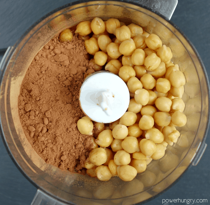chickpea and cocoa powder in a food processor