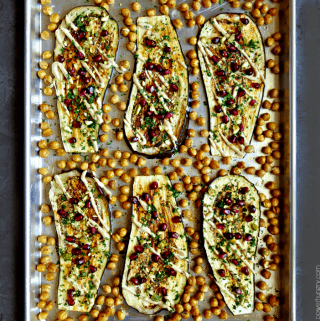 Eggplant & Chickpea Sheetpan Dinner {vegan}