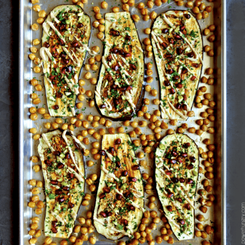 Eggplant Chickpea Sheet Pan Dinner {vegan, oil-free, high protein}