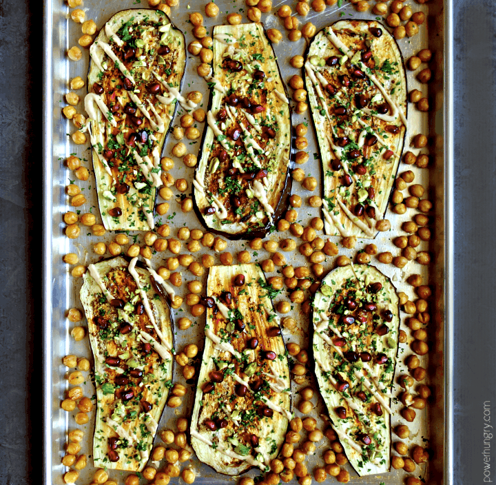 overhead shot of eggplant chickpea sheet pan dinner with all the toppings