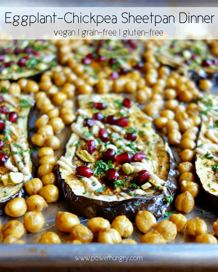 close up of eggplant chickpea sheet pan dinner i