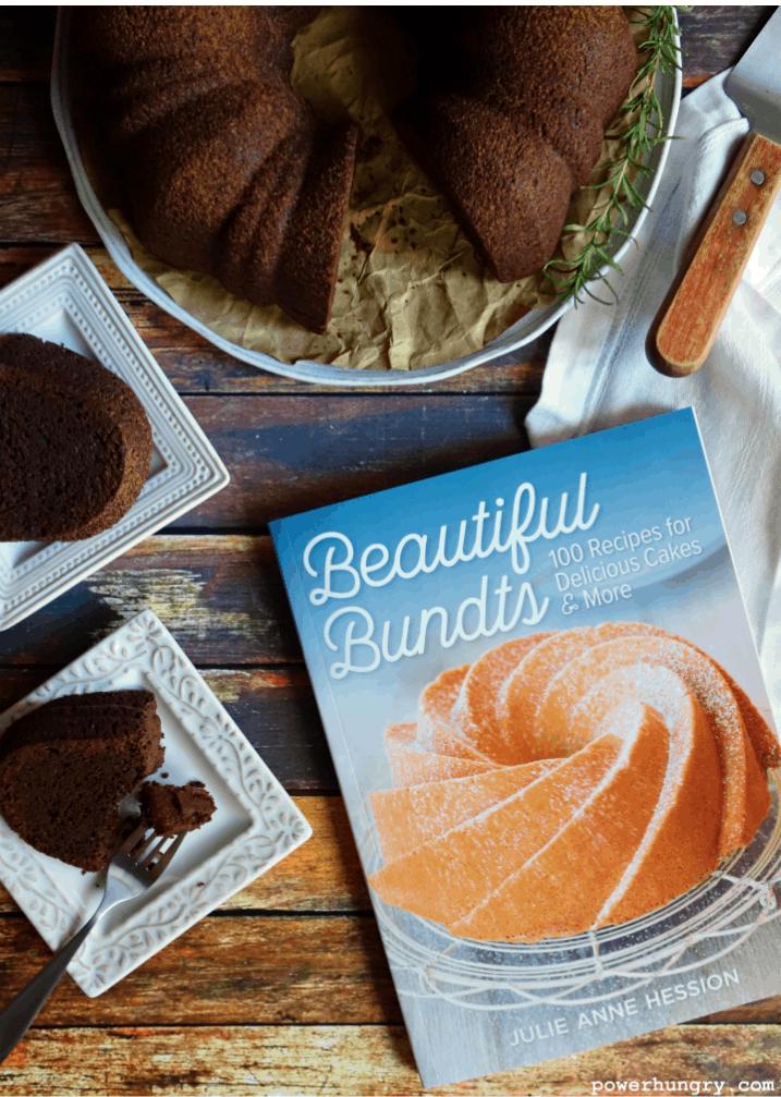 overhead shot of bundt cookbook and chocolate cake