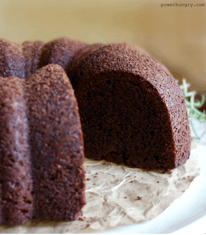 vegan chocolate Bundt cake with a slice taken out