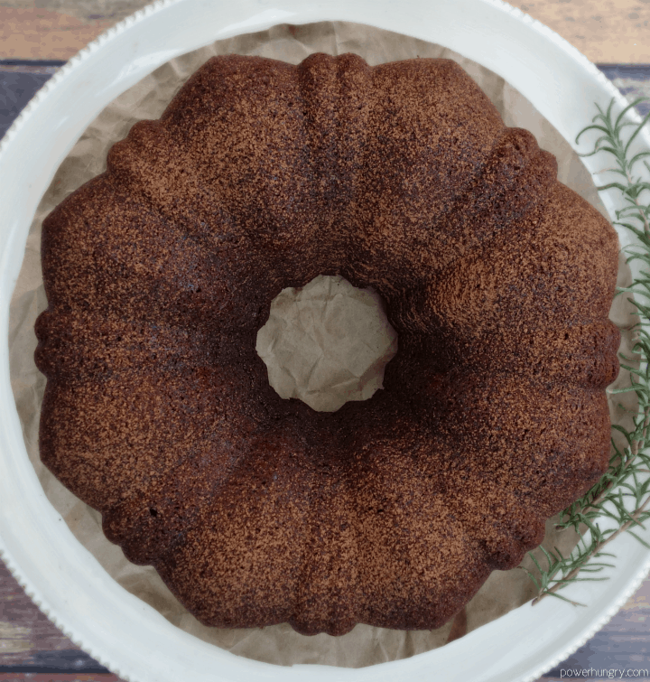 overhead shot of vegan chocolate Bundt cake