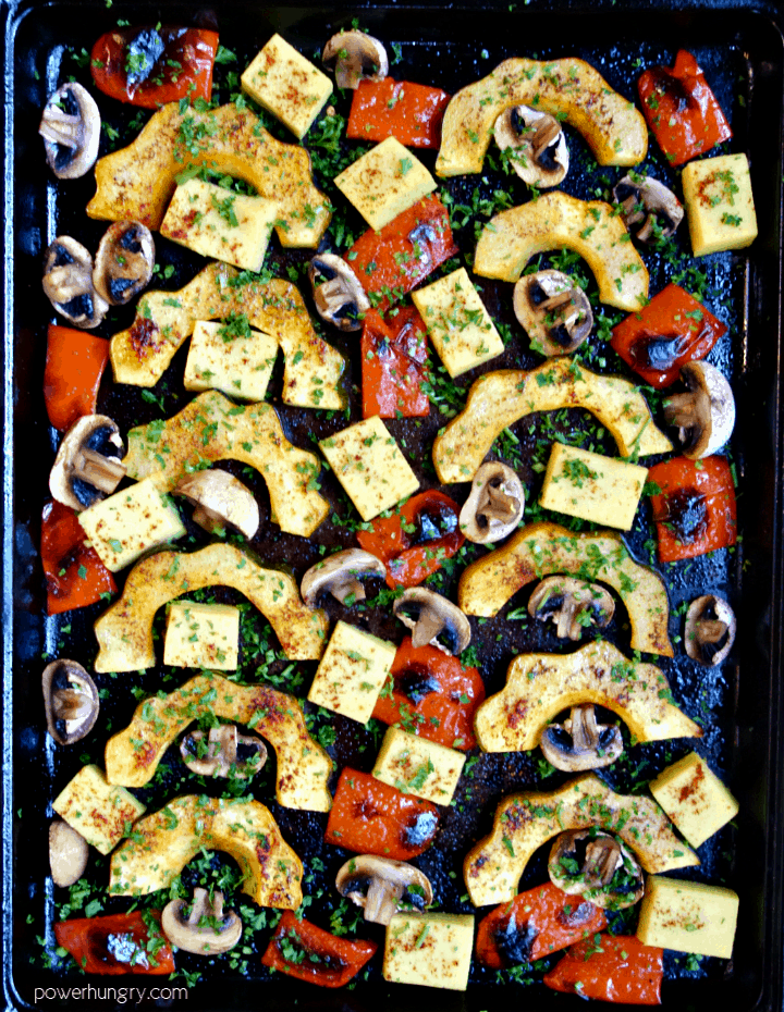 acorn squash sheet pan dinner shot from overhead