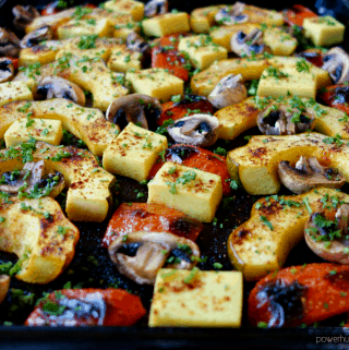 Acorn Squash, Burmese Tofu & Mushroom Sheet Pan Dinner {vegan}