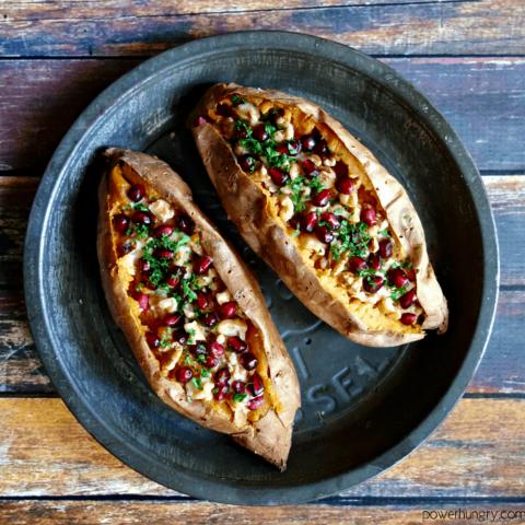 Stuffed Sweet Potatoes w/ Hummus, Walnuts & Pomegranate {GF & V}