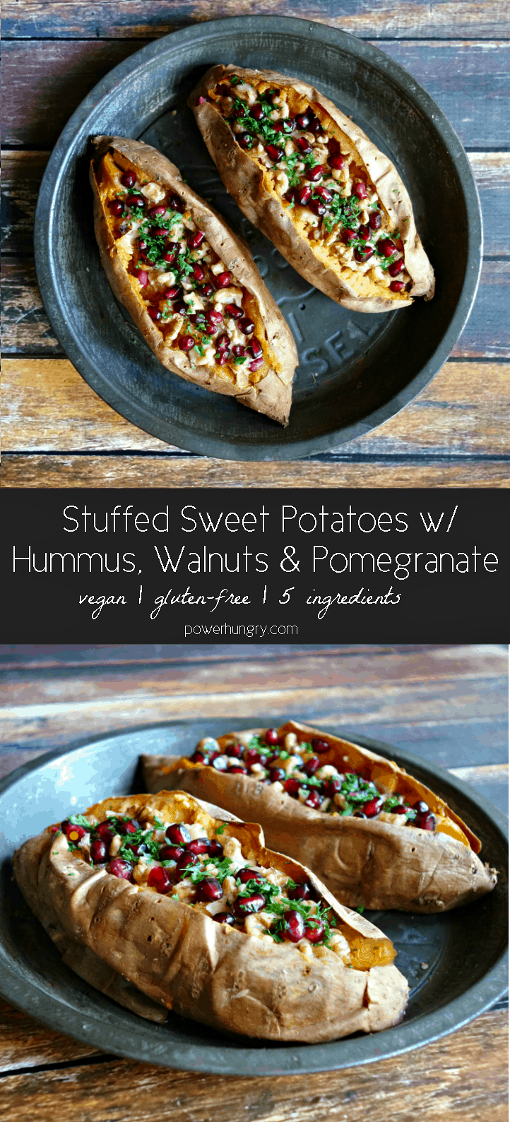 vegan supper stuffed sweet potatoes with hummus, walnuts and pomegranate