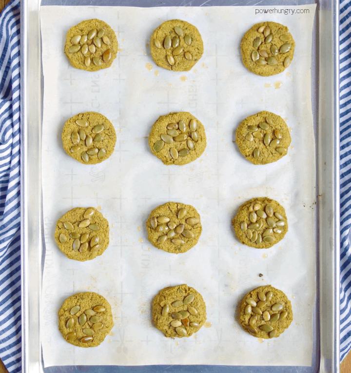 keto baked pepita falafel on a baking sheet