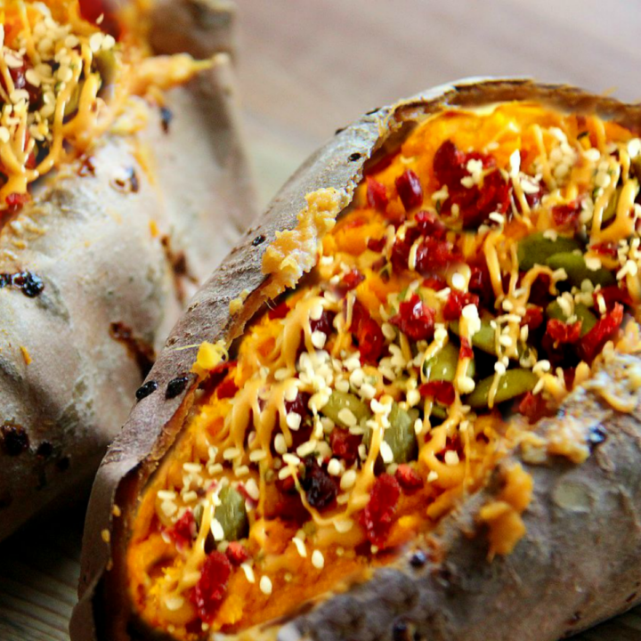 4-ingredient stuffed breakfast sweet potatoes, loaded with nut butter, seeds and dried fruit