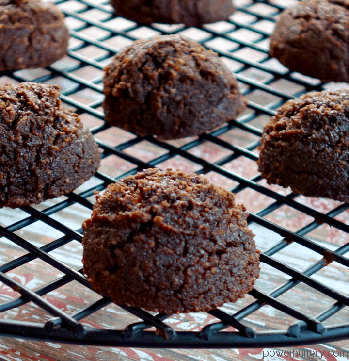 close-up of chocolate coconut flour cookies on a cooling rack