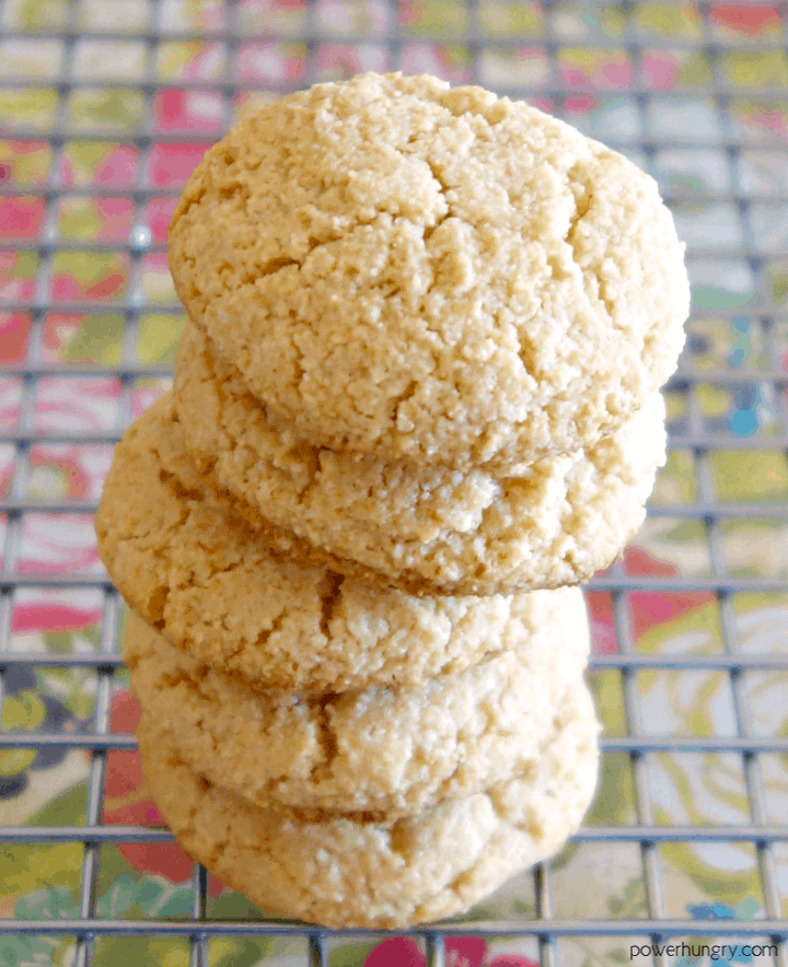 3-ingredient almond flour cookies that are vegan, paleo and keto, on a cooling rack