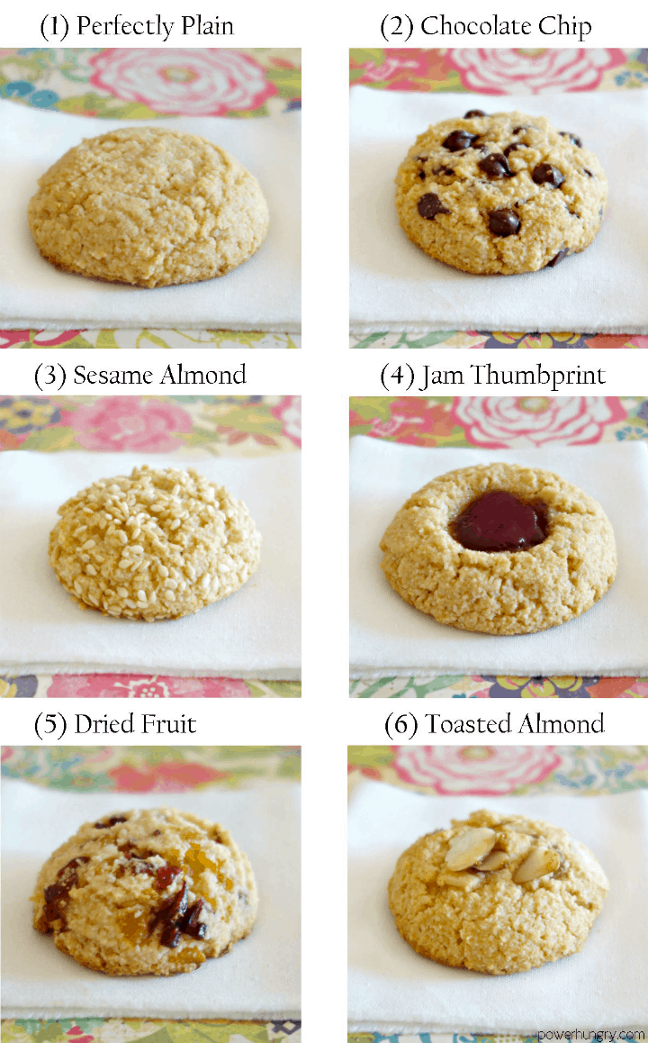 Variations for 3-ingredient almond flour cookies that are vegan, paleo and keto