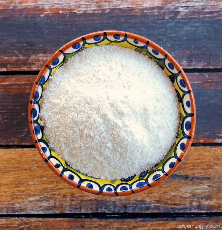 overhead shot of a bowl of coconut flour