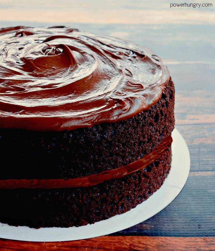 close up of chickpea flour chocolate layer cake