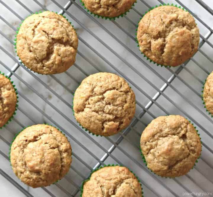 overhead shot of coconut and lime chickpea flour muffins