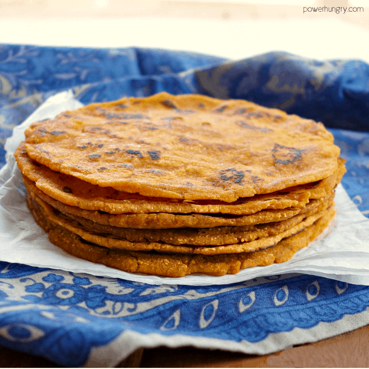 stack of 3-ingredient sweet potato tortillas on a blue napkin