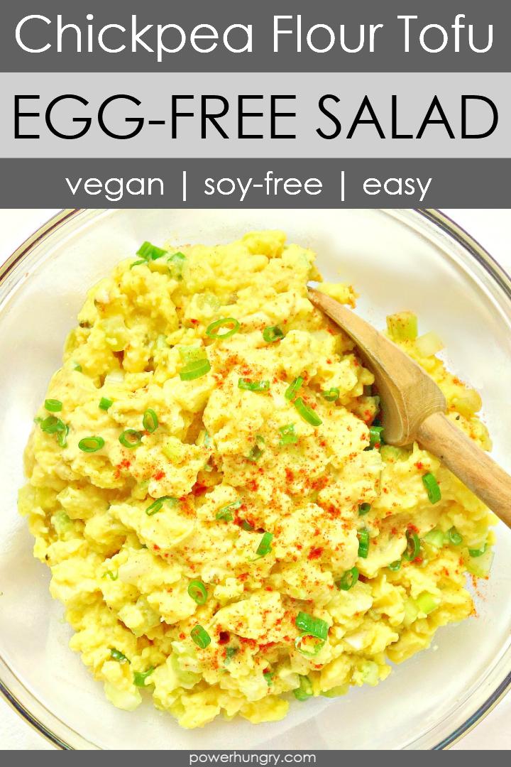 Chickpea Flour Tofu No-Egg Salad in a glass bowl
