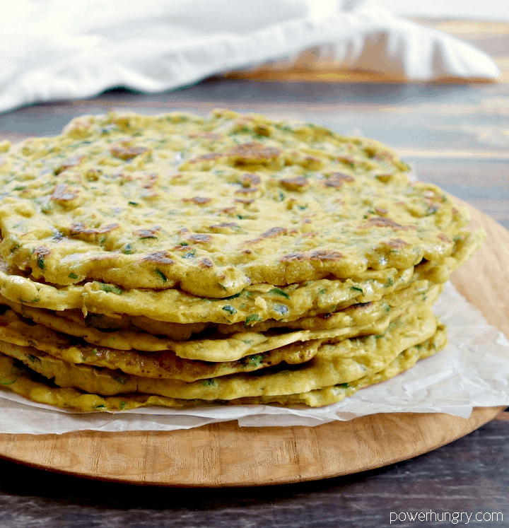 a stack of 4-ingredient zucchini skillet flatbreads