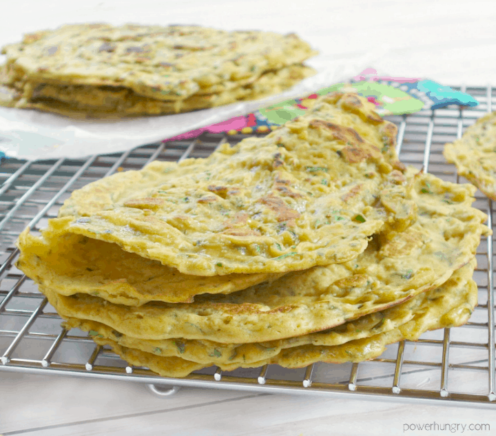 a stack of 4-ingredient zucchini skillet flatbreads on a wire cooling rack