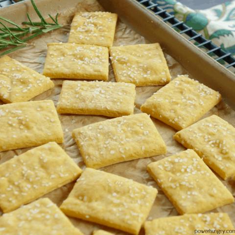 Cheese-y Chickpea Flour Crackers {grainfree, vegan, high-protein}