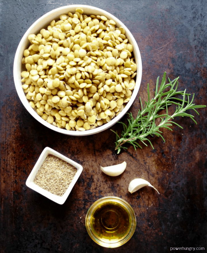 ingredients for Rosemary & garlic flourless lentil flatbread on a slate background