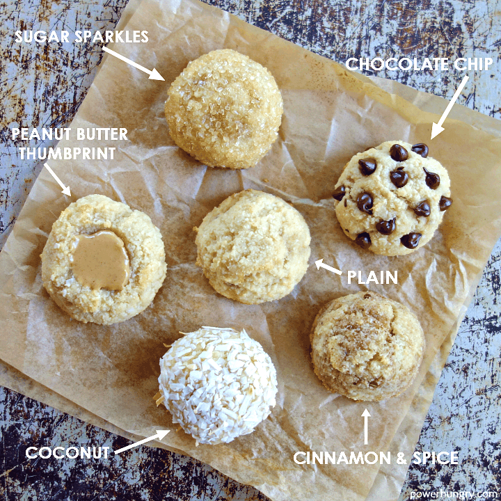 overhead shot of 3-ingedient banana almond flour cookies with various toppings