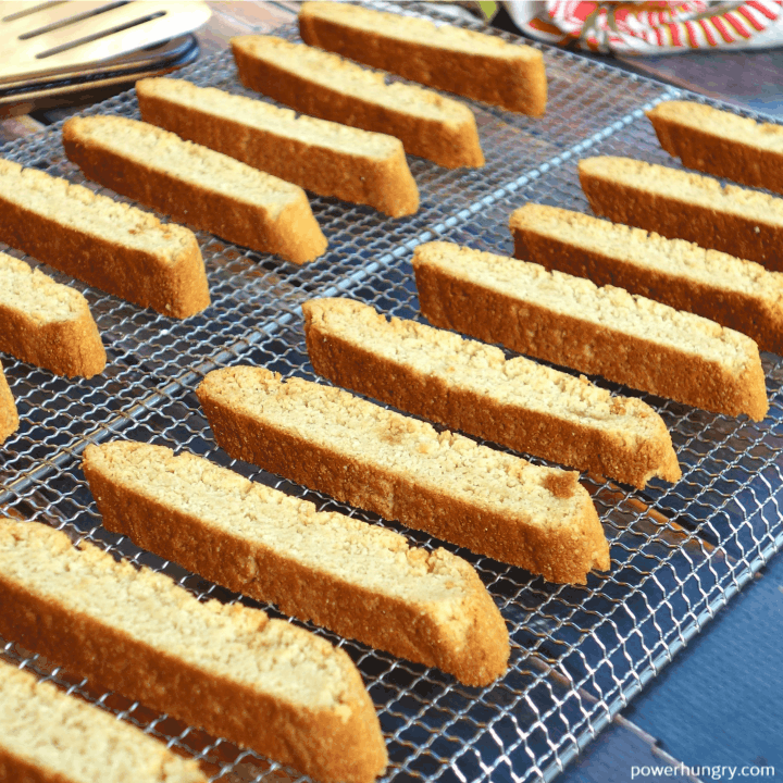 4-Ingredient Vegan Almond Flour Biscotti spaced out on a wire cooling rack