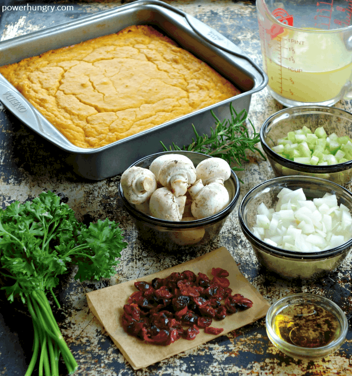ingredients for Grain-free & vegan cornbread stuffing made with chickpea flour