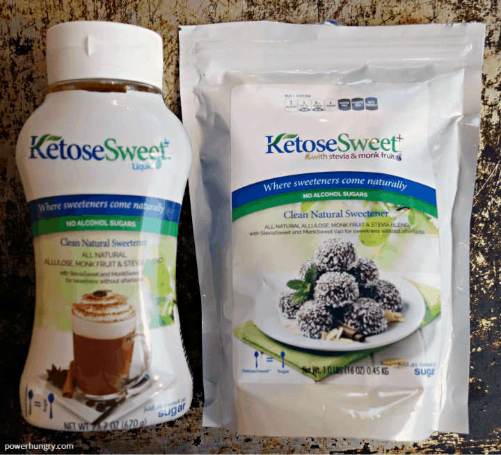 overhead shot of liquid and granulated keto sweeteners,