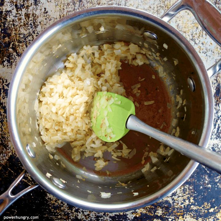sautéed onions in a saucepan