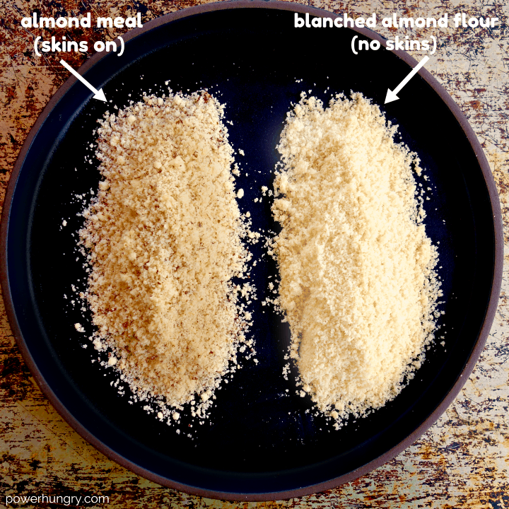 dish comparing almond meal and almond flour
