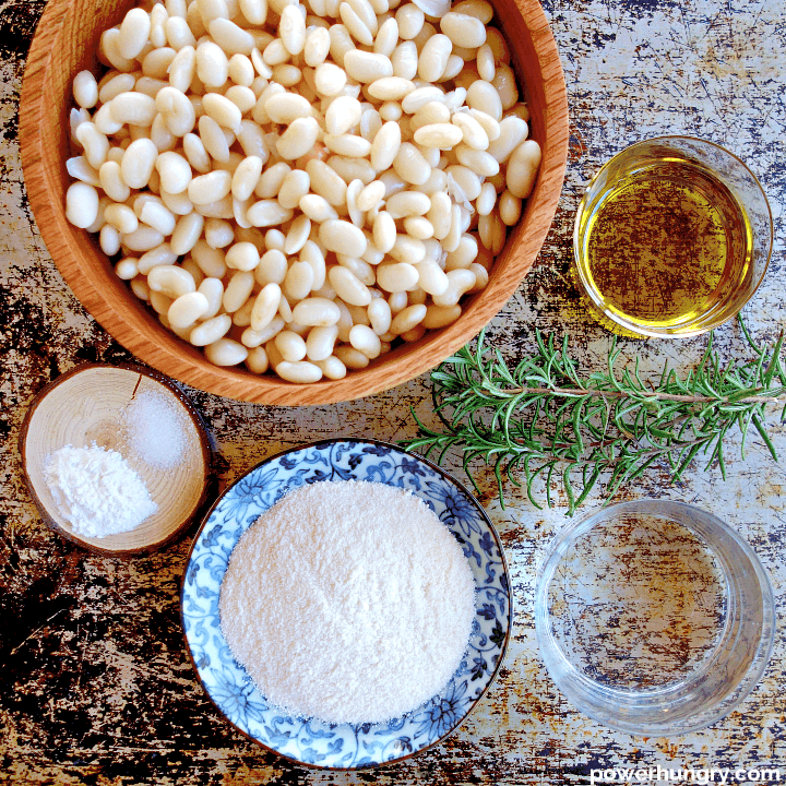 overhead photo of the ingredients for white bean flatbread