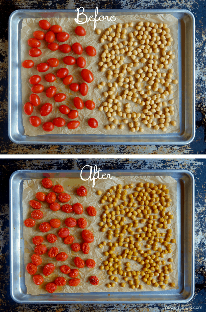 roasted grape tomatoes and chickpea on a parchment lined baking sheet