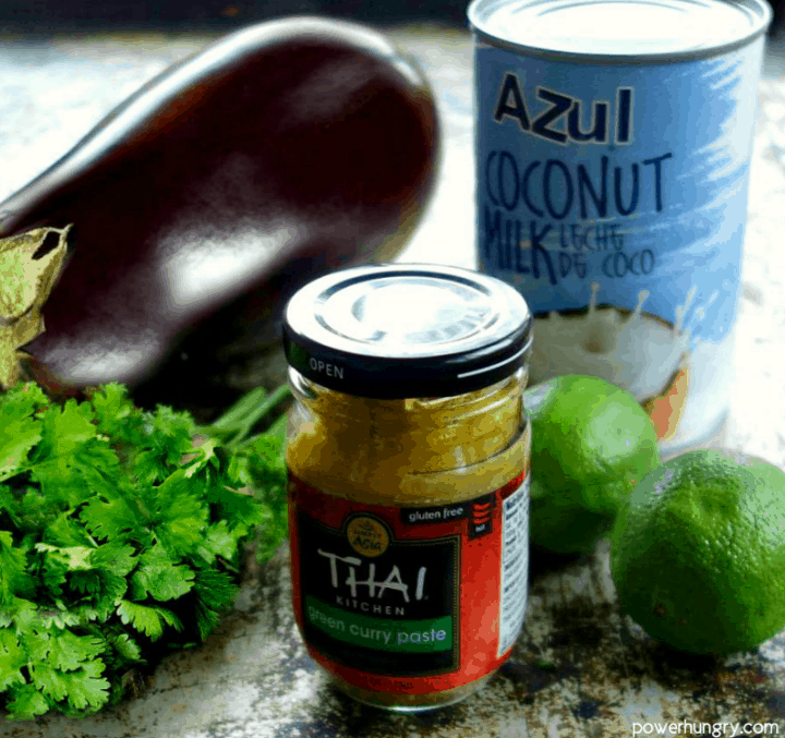 The 5 ingredients for Thai eggplant dip on a baking sheet