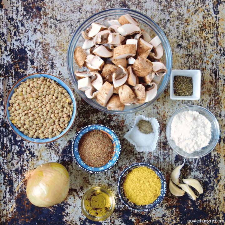 ingredients for the lentil and mushroom meatballs