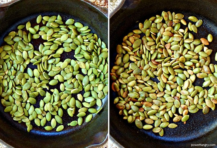 side by side photo collage of raw pepitas and toasted pepitas in a black skillet