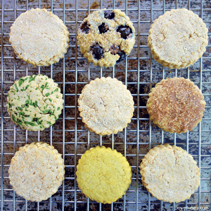 Oat and coconut flour vegan biscuits on a wire cooling rack