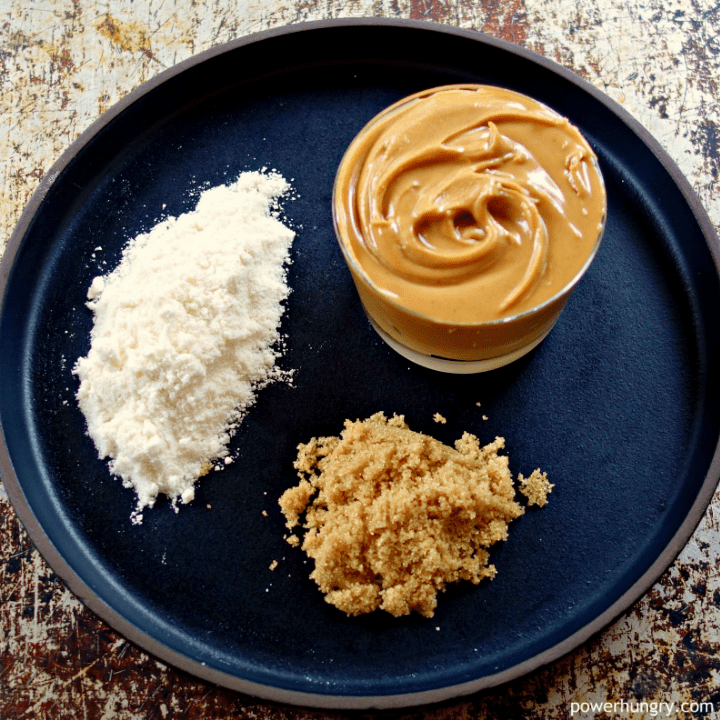 ingredients for 3-ingredient keto protein bars on a black plate