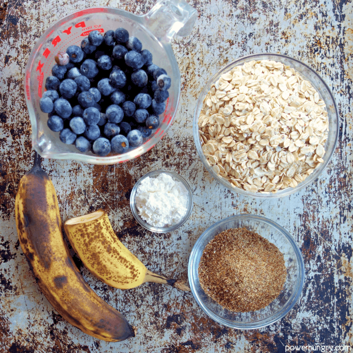 Overhead shot of the ingredients for5-Ingredient blueberry oat breakfast bars