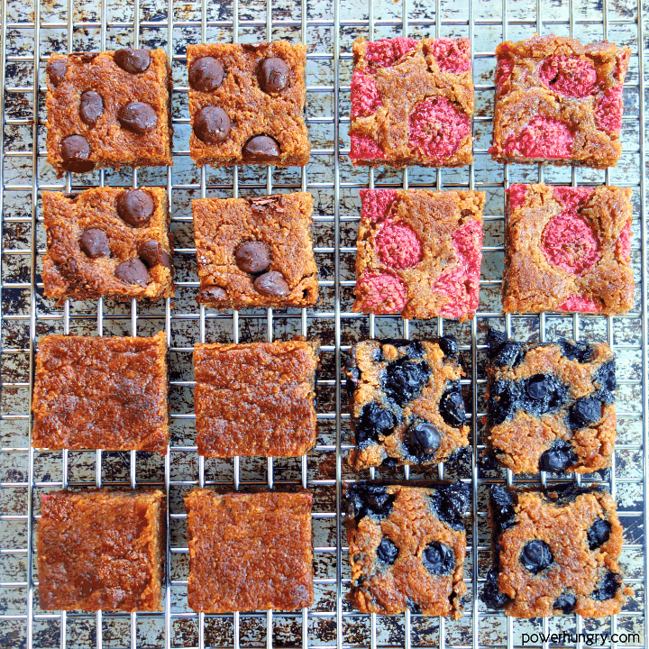 healthy peanut butter blondies with various add-in, such as blueberries, raspberries and chocolate chips