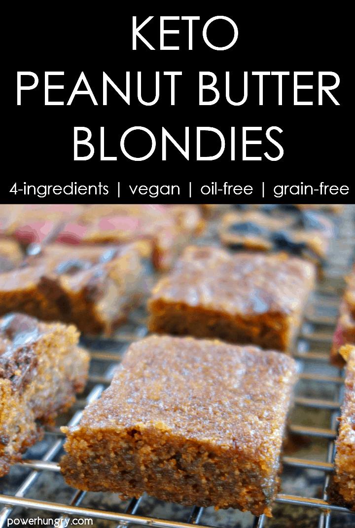 keto vegan peanut butter blondies on a silver cooling rack