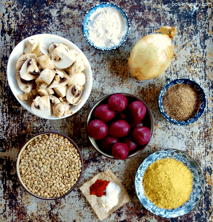 Ingredients for easy DIY vegan ground beef