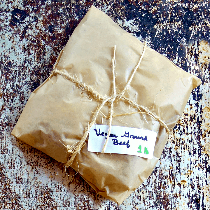Wrapped package of easy DIY vegan ground beef that is grain-free