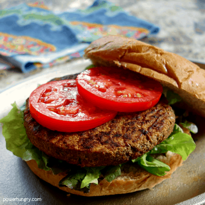 DIY vegan ground beef made into a burger